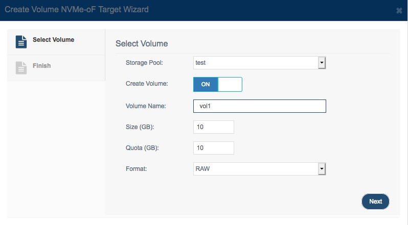create volume                 nvme over fabrics target