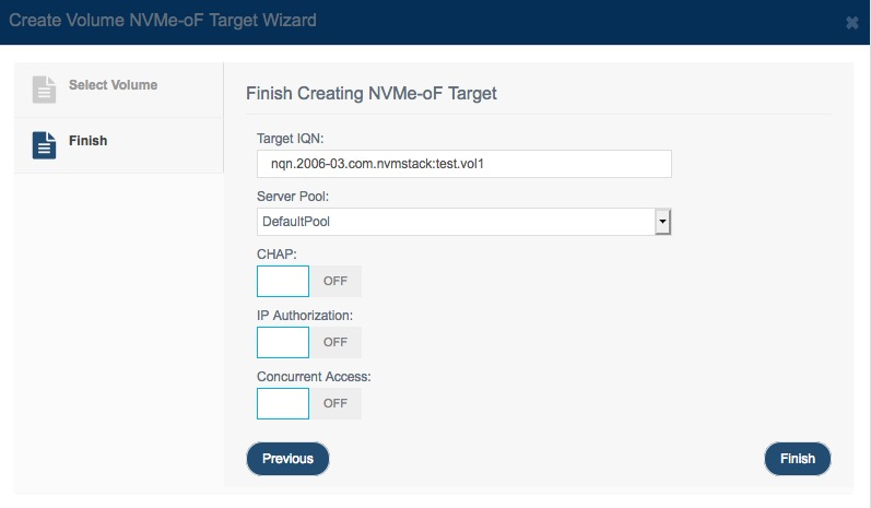 create nvme                 over fabrics volume target